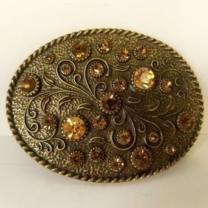 Belt Buckle, Brass Tone, Citrine & Brown Crystals